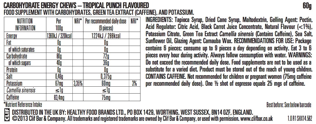 Tropical Punch Flavor Nutritional Facts