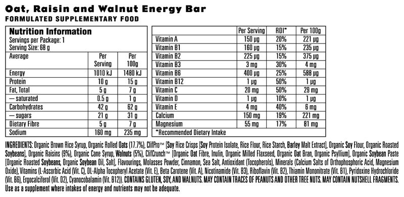 Oatmeal Raisin Walnut Nutritional Facts