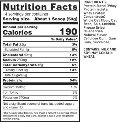 OPTIMUM NUTRITION WHEY & OATS – BLUEBERRY MUFFIN